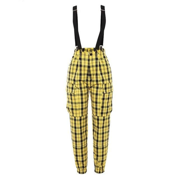 Yellow Tartan Trousers with Braces