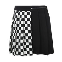Checkerboard Pleated Skirt