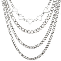 Heart and Chain Layered Necklace