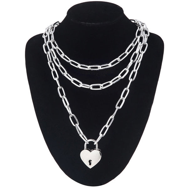 Giant Heart Lock Layered Chain
