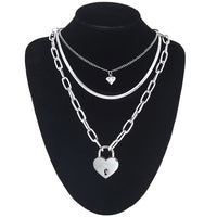 3 Layer Heart Padlock Necklace