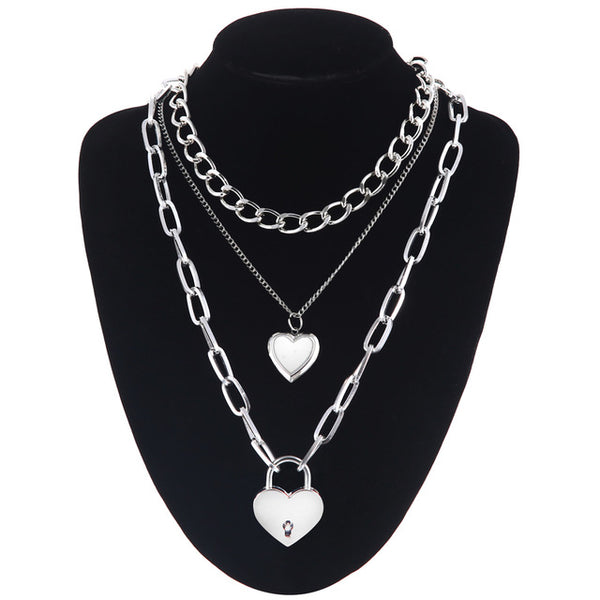 Heart and Lock Layered Necklace