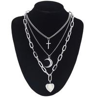 Cross Heart and Moon Layered Necklace