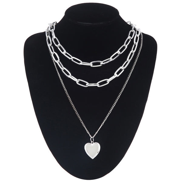 Heart Pendant Layered Chain
