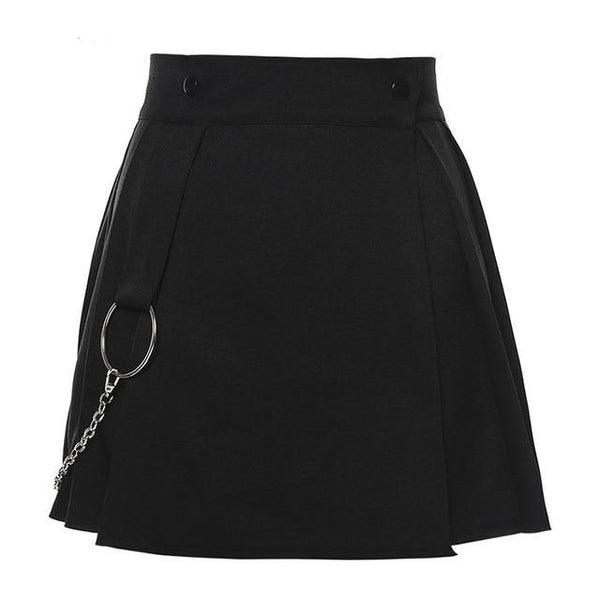 Metal Chain Pleated Skirt