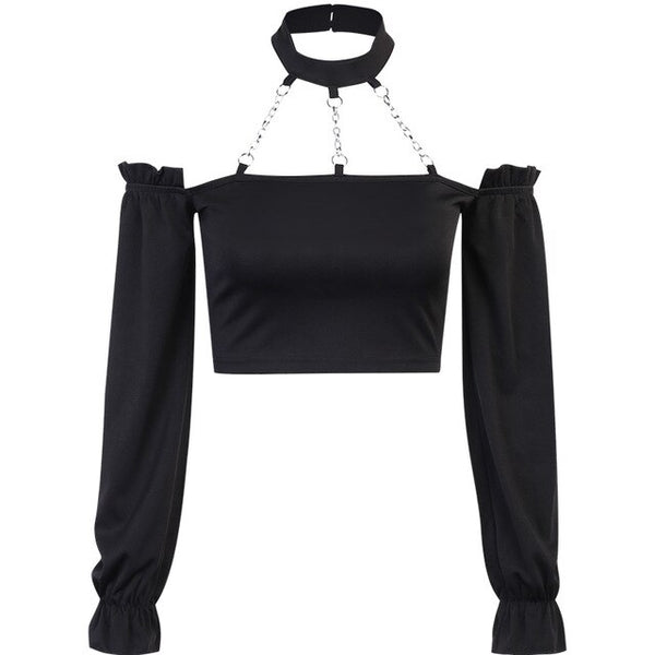Chain Halter Long Sleeve Top