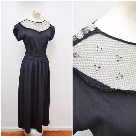 1940s CC41 black crepe & sequin silk tulle evening dress