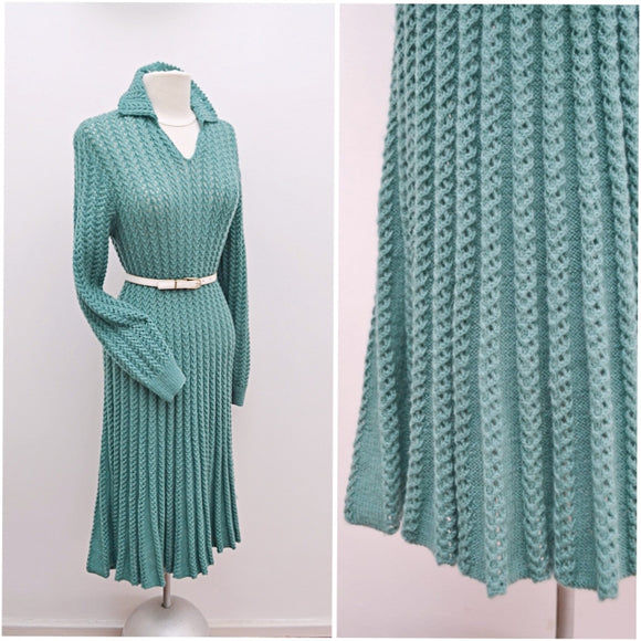 1950s Sage green wool handknitted dress