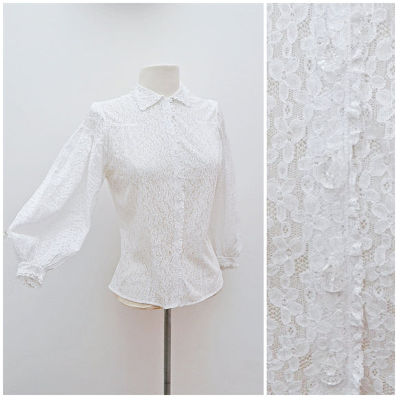 1930s White lace balloon sleeve blouse - Extra small