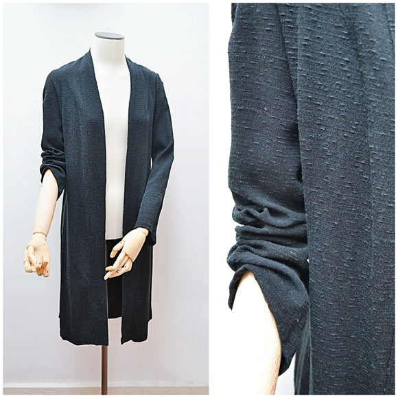 1930s Black crepe pointed sleeve long open evening jacket