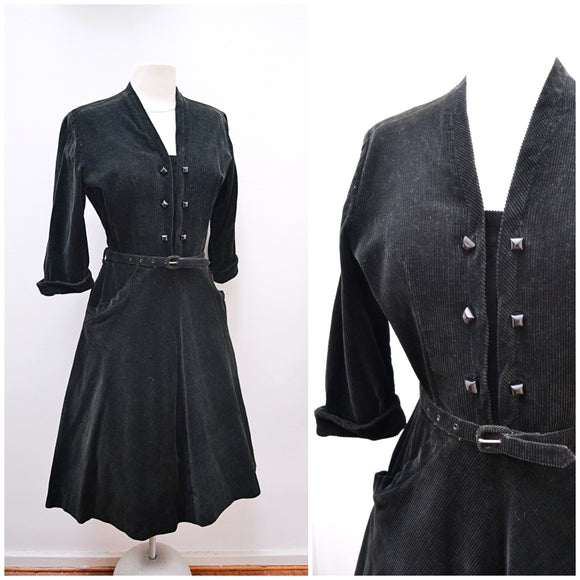 1940s Black corduroy day skirt with pockets & double breasted bodice
