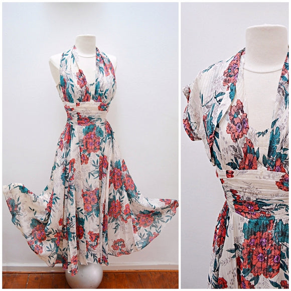 1940s Halterneck floral full skirt evening dress with bolero jacket