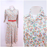 1940s Red paisley print cream cotton housedress or shirt dress with pockets