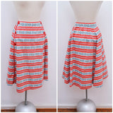 1940s Red stripe sailor button printed cotton pleated skirt