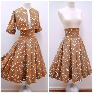 1940s Cocoa brown printed high waist skirt & bolero set