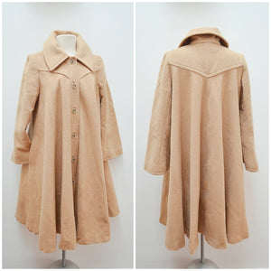 1970s does 40s Camel wool swing back winter coat - Small