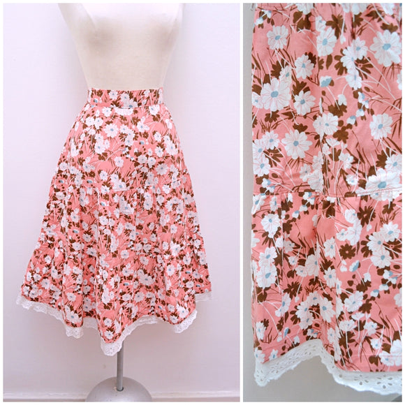 1970s Pink cotton floral tiered embroidery anglais day skirt