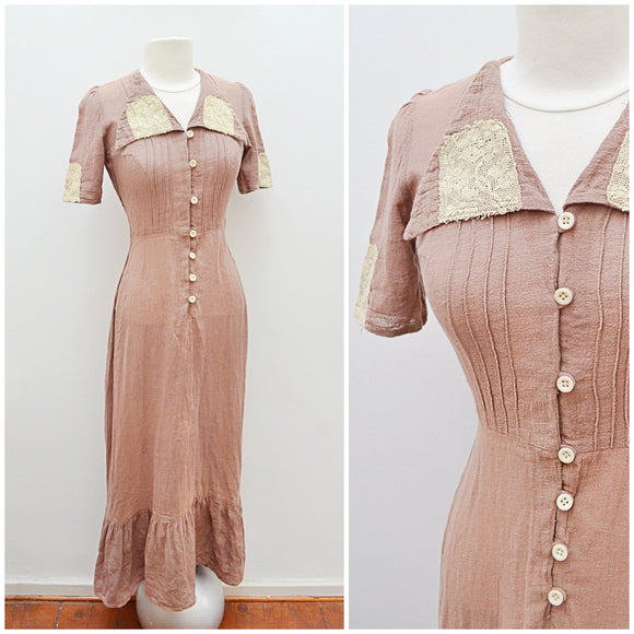 1970s Cocoa brown Indian cotton 30s style maxi dress - Extra small