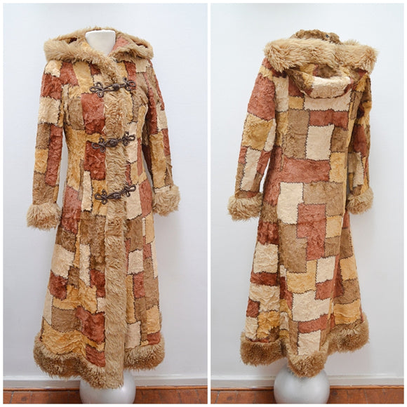 1970s Faux patchwork velveteen maxi coat with hood - Extra Small