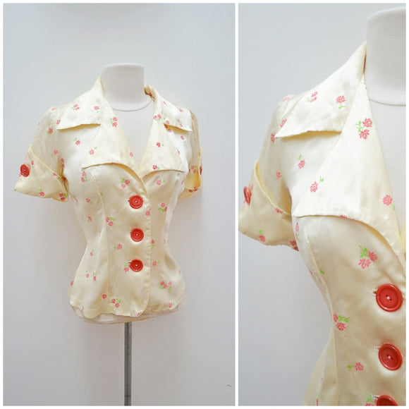 1970s does 30s Cream rose print satin blouse