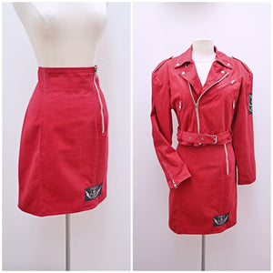 1980s 90s Red cotton biker front jacket fitted skirt suit