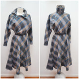 1970s 80s Batwing statement neck plaid wool day dress - S
