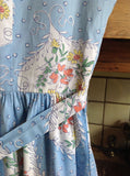1950s Pastel blue floral cotton full skirt day dress