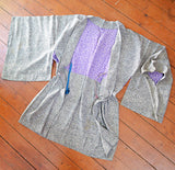 1950s Grey & purple crepe silk Haori jacket/robe