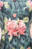 1940s 50s Teal & pink cotton rose print fitted blouse