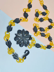 1930s Yellow celluloid and carved blue Galalith belt/necklace