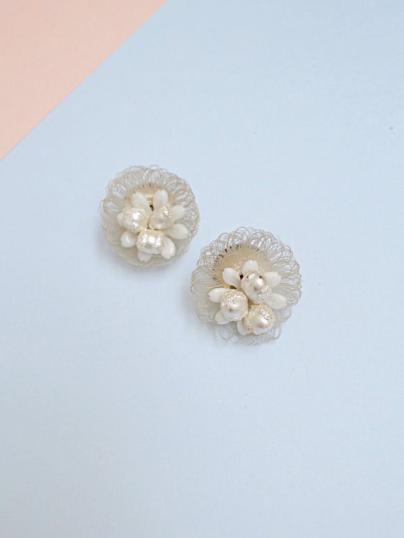 1940s White 'eggs in basket' cluster earrings