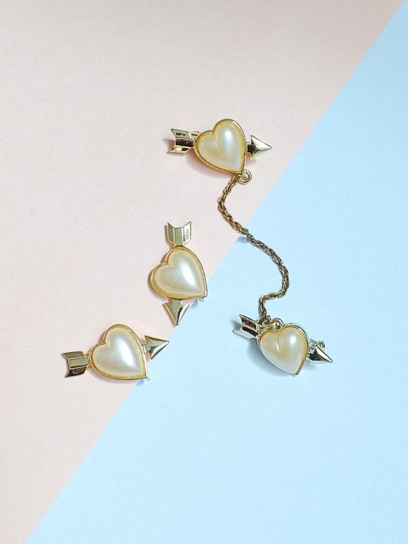 1980s Pearl lucite goldtone heart earring & 2 part brooch set
