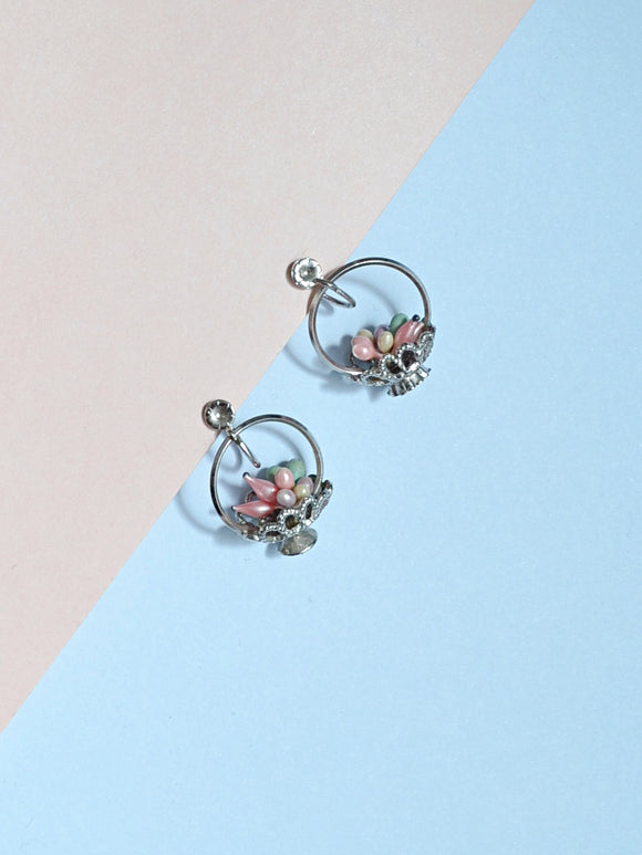 1940s Silvertone novelty fruit/pastel egg basket hoop earrings