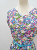 1950s Abstract floral print rayon summer dress