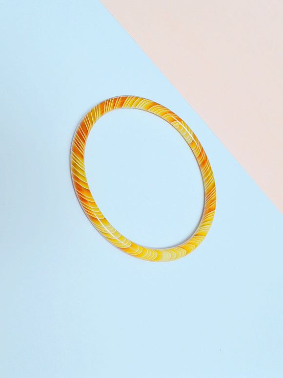 1930s Striped celluloid tubular bangle