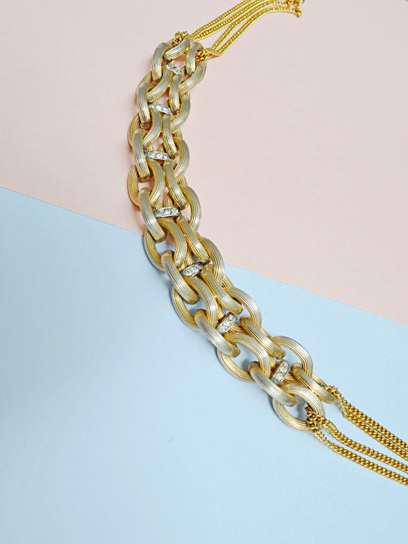 1950s Chunky gold link & rhinestone choker necklace