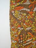 1970s Psychedelic print green & orange halterneck maxi dress