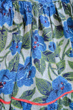 1940s Tiered blue & green rose print sequinned long cotton prairie dress