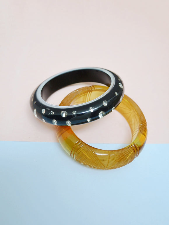 1950s look Black & silver rhinestone lucite bangle