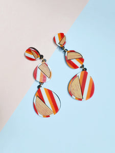 1980s Striped plastic dangly statement earrings