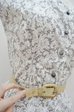 1950s Grey & white lace print cotton blouse full skirt suit set