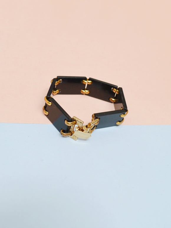 1950s Black lucite & brass Art Deco look link bracelet