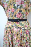 1950s Yellow & pink floral cotton day dress with rhinestone collar