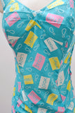 1960s Turquoise blue & pink Novelty print cotton Aquapoise swimsuit