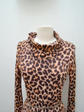 1970s Leopard print cowl neck Shelana party dress - Small