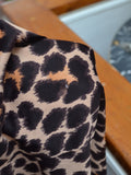 1970s Leopard print slinky cowl neck Shelana dress