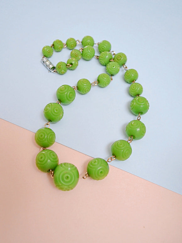 1930s Carved green Galalith bead & rhinestone necklace