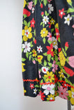 1950s 60s Swirl label floral cotton zip front day dress