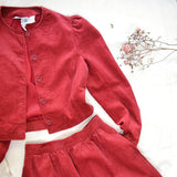 1980s Laura Ashley red corded velvet two piece skirt suit