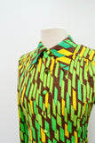 1970s Green geometric print wool jersey shirt dress